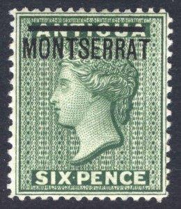 Montserrat 1876 6d Green SG 2 Scott 2 LMM/MLH Cat £70($91)
