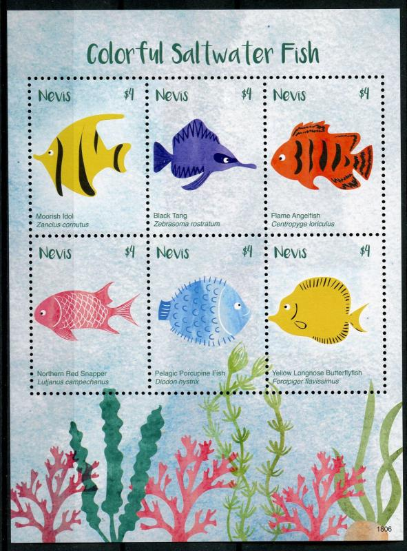 Nevis 2018 MNH Colorful Saltwater Fish Tang Butterflyfish 6v M/S Fishes Stamps