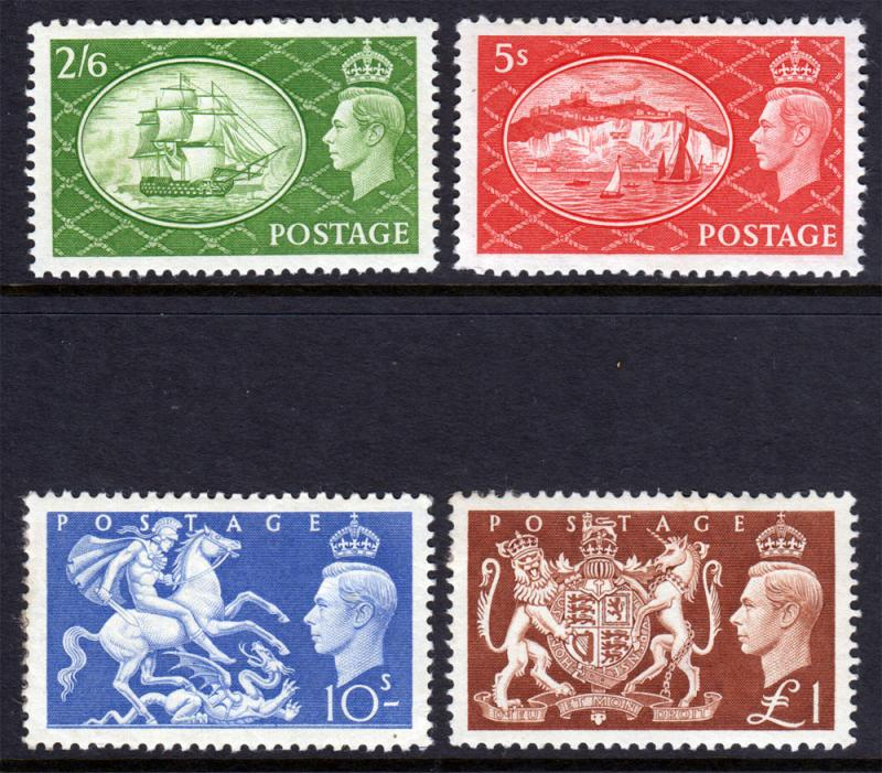 GB KGVI 1951 SET 2/6, 5/-, 10/-, £1 SG509-SG512 Mint Hinged
