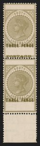 SOUTH AUSTRALIA : 1902 QV Thin Postage 3d pair error POSTAGE OMITTED MNH ** RARE