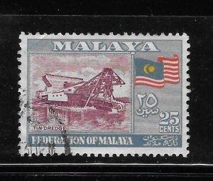 Federation of Malaya 1957 Tin dredge and flag Sc 82 Used A1749