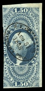 B524 U.S. Revenue Scott R78a $1.50 imperforate, 1863 railroad handstamp cancel