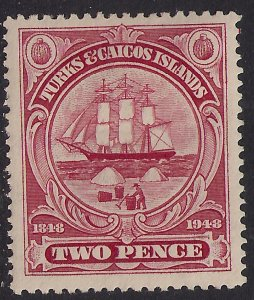 Turks & Caicos 1948 KGV1 2d Carmine MM SG 211 ( H346 )