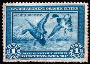 US STAMP BOB DUCK STAMP #RW1 – 1934 $1.00 Mallards unused ng stain stamp