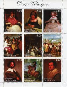 Tajikistan Art Stamps1999 MNH Diego Velazquez Spanish Painter Paintings 9v M/S