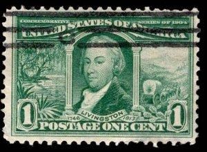 US Stamp #323 1c Green Livingston USED SCV $4.75
