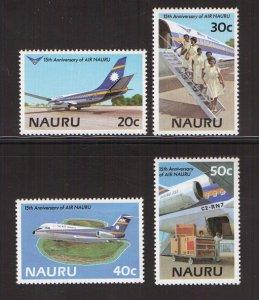 Nauru   #303-306   MNH  1985    Air Nauru  crew  fokker F28