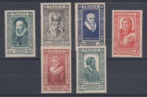 France Sc B161-B166 MNH. 1943 Famous 16th Century Frenchmen, cplt set