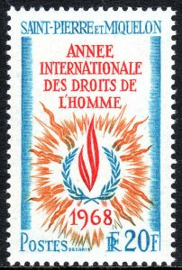 St Pierre & Miquelon 382, MNH. Human Rights Year. Flame, 1968