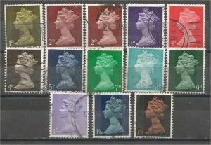 GREAT BRITAIN, Machins, 1967-69, used set of 13, Scott MH1-MH17