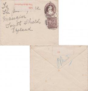 India 1a KGV on 1a KGV Envelope 1923 Bombay to South Shields, England. Post O...