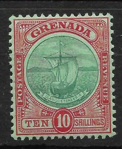GRENADA SG83 1908 10/= GREEN & RED ON GREEN LMM