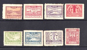 POLAND LOCALS 1918 COLLECTION LOT OG H HINGED