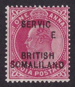 SOMALILAND 1903 SERVICE on KEVII 1a ERROR DROPPED E . RARE UNLISTED!