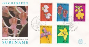 Suriname # 460-464, Orchids on a First Day Cover