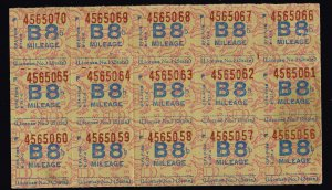 US STAMP WWII Mileage Ration Stamp B8 UNUSED BLK OF 15 STAMPS