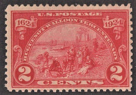 US 615 MNH VF 2 Cent Carmine Rose Huguenot-Walloon Issue
