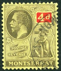 MONTSERRAT-1923 4d Black & Red/Pale Yellow Sg 75 FINE USED V31477