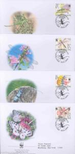 WORLD WILDLIFE FUND 2004 SERBIA INSECTS SET OF FOUR FIRST DAY COVERS