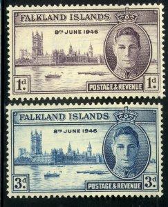 FALKLAND ISLANDS 1946 KGVI VICTORY PEACE Set Sc 97-98 MLH