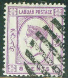 Labuan Scott 35, Victoria 8 cent no wmk CV$10.50 1892