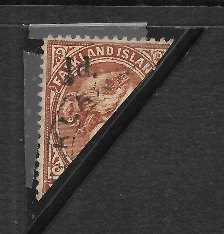 FALKLAND IS 1891 1/2d on 1/2d BISECT OVPT QV FU  SG 13
