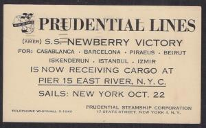 #UX38 interesting card w/ ODD MACHINE CANCEL & advert for SS NEWBERRY VICTORY VF