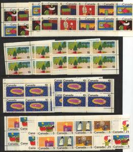 Canada - 1970 Christmas Children's Drawings Blocks mint