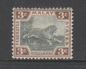 Malaya Sc 27 MLH. 1904 3c brown & gray Tiger watermarked sideways