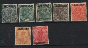 Burma #1-7 Mint  1937 PD