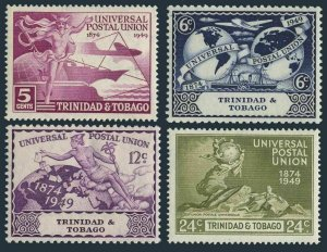 Trinidad-Tobago 66-69,hinged.Michel 149-152. UPU-75,1949.Mercury,Communications.