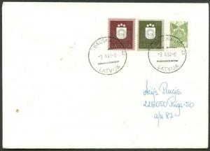 LATVIA Sc#304-305 on Apr. 3, 1992 Combo Cover with Russian Stamp