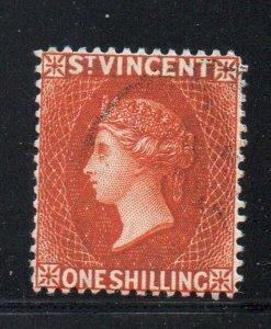 St Vincent Sc 53 1891 1/ orange vermilion Victoria stamp used
