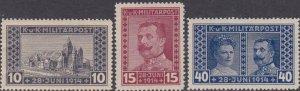 1917 Bosnia Stamp Set - Scott #B13-B15  Mint MH
