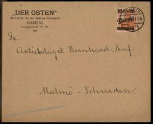 Danzig Germany 1920 10M Germania Points Up Mi 31 I EF Cover To Sweden 56375