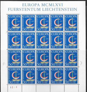 Liechtenstein #420  50rp 1967  EUROPA Sheet of 20   (MNH)  CV $9.00