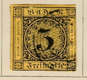 Altdeutschland Germany Baden 1851 3kr fine used A13P59F647