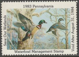 U.S.-PENNSYLVANIA 1, STATE DUCK HUNTING PERMIT STAMP. MINT, NH. VF