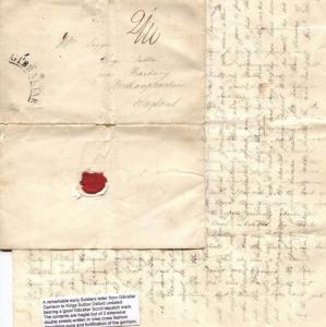 British Cover GIBRALTAR Arc 1835 Soldier's Letter Oxon HISTORIC MILITARY MS3366