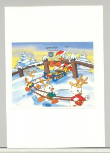 Grenada #1247 Disney Christmas 1v S/S Imperf Proof Mounted on Card