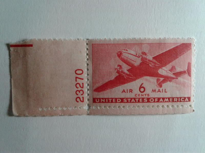 SCOTT # C 25  6 CENT AIR MAIL SINGLE W/ PLATE NUMBER MINT NEVER HINGED GEM