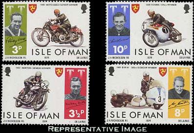 Isle Of Man MNH 40-3 Racing Motorcycles 1974
