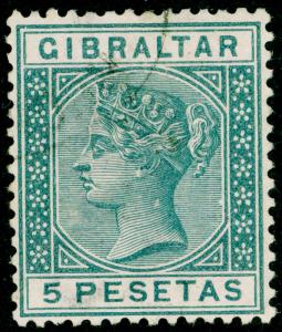 GIBRALTAR SG33, 5p slate-grey, VERY FINE USED. Cat £100.