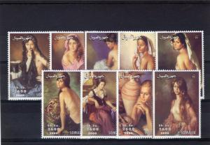 Somalia 2000  Nudes Paintings Set  (9) Perforated MNH