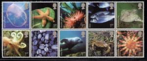 Great Britain Sc 2437a 2007 Marine Life stamp block of 10 mint NH