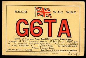 QSL QSO RADIO CARD Flag of England,G6TA,Douglas Abbott,1950, (Q3060)