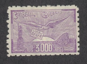 Brazil Sc C25 MLH. 1929 3000r violet Allegory of Flight, Perf 9, fresh, F-VF.