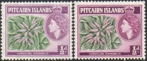 Pitcairn Islands 1957 & 1963 ½d Cordyline terminalis (both shades) MH