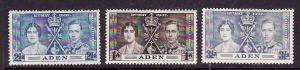 Aden-Sc#13-15-unused hinged KGVI Coronation set-Omnibus-1937-