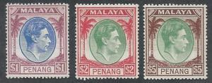 PENANG 1949 KGVI $1 $2 AND $5